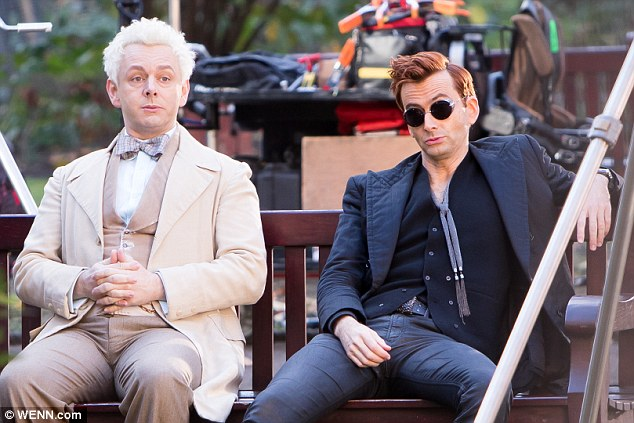 David Tennant and Michael Sheen filming Good Omens in Tavistock Square, London - 8th December 2017