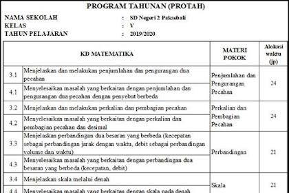 Protah dan Prosem SD Muatan Matematika Kurikulum 2013 Tahun 2019/2020