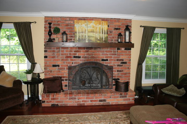 The yellow cape cod white washed brick fireplace tutorial - Red brick fireplace makeover ideas ...