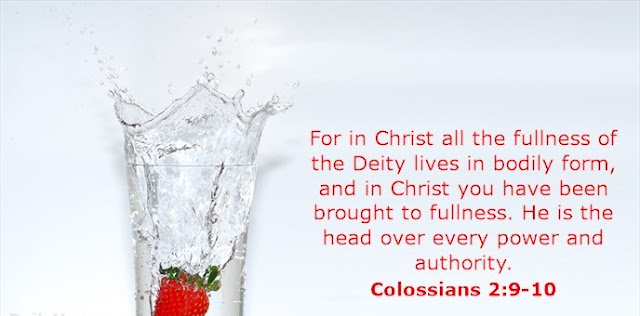 For in Christ all the fullness of the Deity lives in bodily form, and in Christ you have been brought to fullness. He is the head over every power and authority.