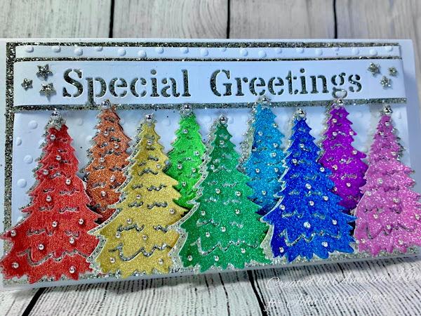 Rainbow Greetings, with John Next Door 2020 Christmas Cutting Dies