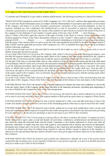format of special resolution for conversion of loan into equity