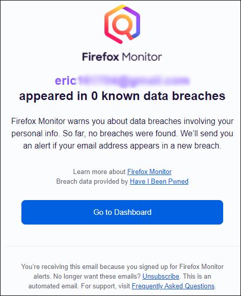 تأكيد عبر البريد الإلكتروني من Firefox Monitor