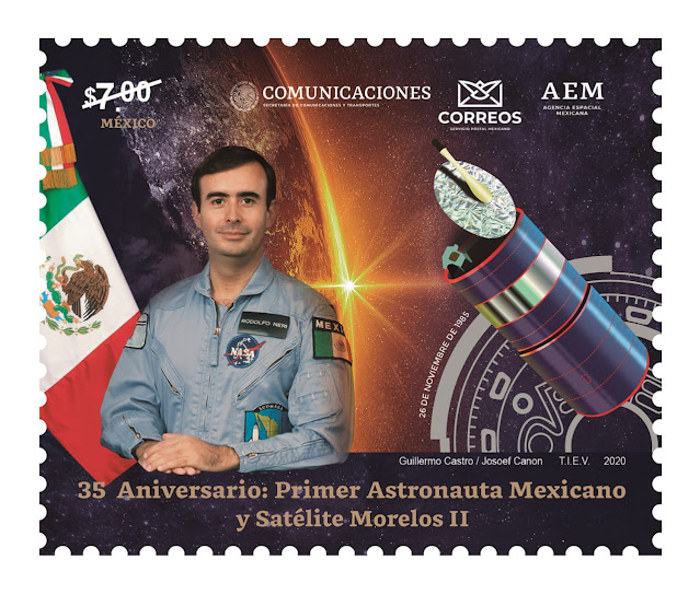 """Emite Sepomex timbre postal """"35 aniversario del primer astronauta mexicano y el satélite Morelos 2"""""""