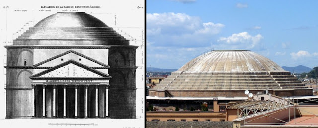 The Roman Pantheon, made with Roman concrete, has the largest unreinforced concrete dome in the world