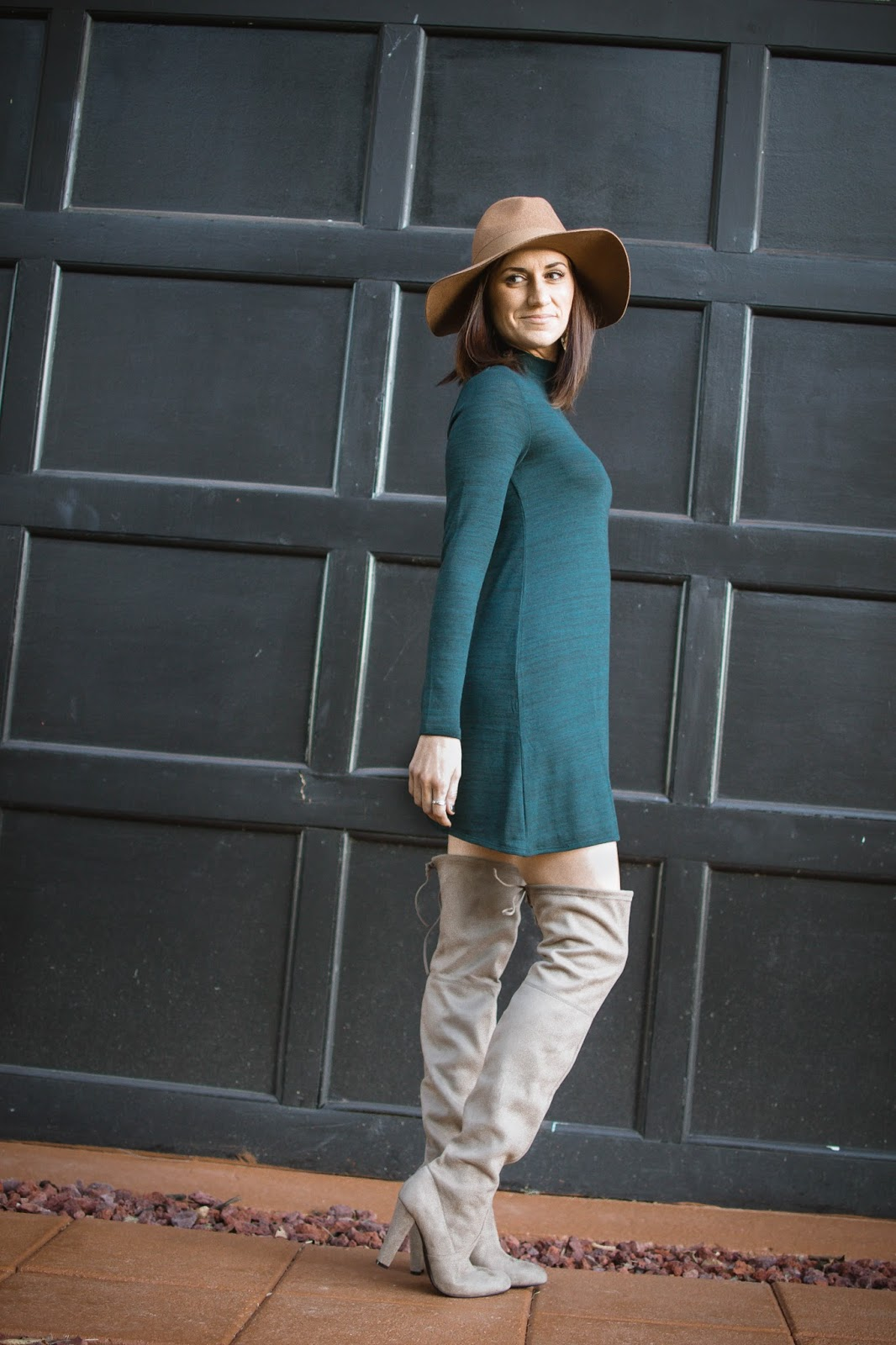 f5ea800d12b H M knit dress    Steve Madden over the knee boots    Old Navy wool fedora