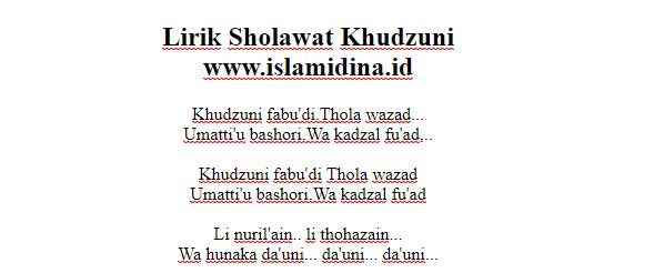 Lirik Sholawat Khudzuni