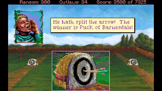 Screenshot of Robin Hood splitting the arrow in Conquests of the Longbow