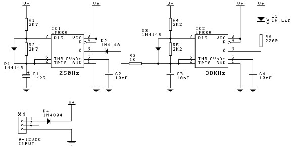 electronic door minder using 555 timer circuit diagram
