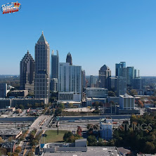Drone shot of Atlanta I-75