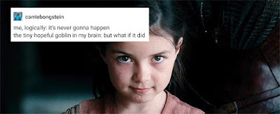 "A picture of Diana as a child in Wonder Woman with a tumblr post posted over it that says ""me, logically: it's never gonna happen. the tiny hopeful goblin in my brain: but what if it did"""