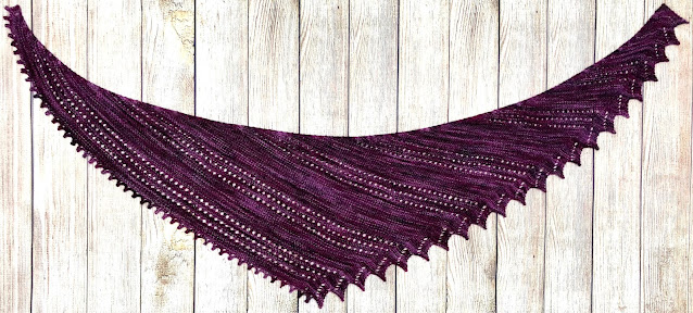 Lacy shawl knitted with Yarn Bee Authentic Hand-Dyed Tonal in Lavender Dusk