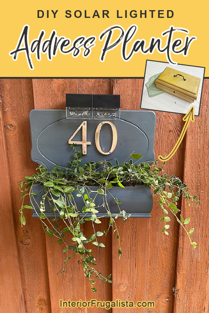 How to build a house number planter box that is backlit at night with solar lights, made from a repurposed Bombay-style jewelry box and wooden plaque. #housenumberplanterdiy #addressplanterdiy #addressplaqueplanter #solarlightedplanterbox