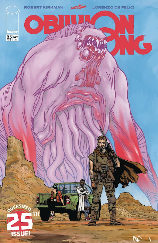 Oblivion Song #25 oversized 25th issue pink monster, hero with a cape.