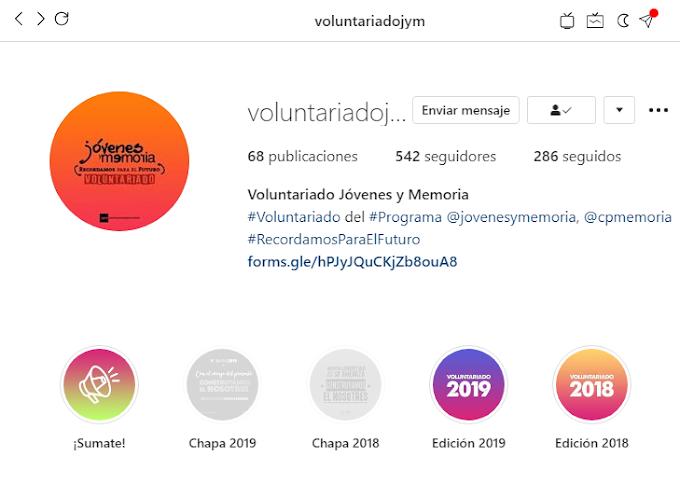 Gráfica para el Instagram del Voluntariado de Jóvenes y Memoria