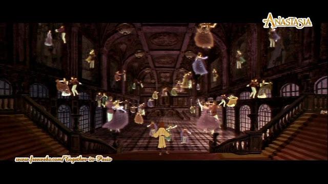 Cena do filme Anastasia 1997, pessoas saindo dos quadros