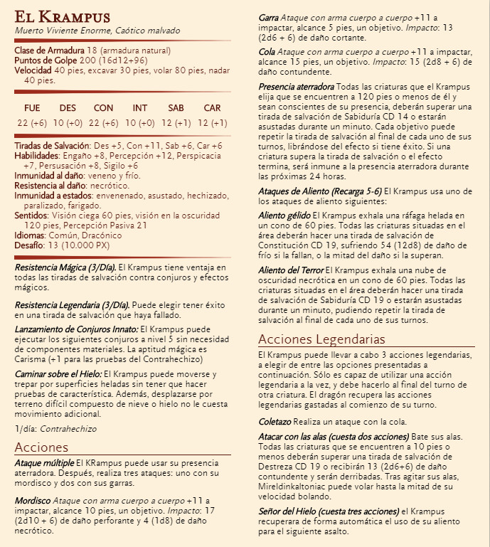 Aventura de Navidad para Dungeons & Dragons - La Frontera del Invierno (4ª Parte) - El Krampus