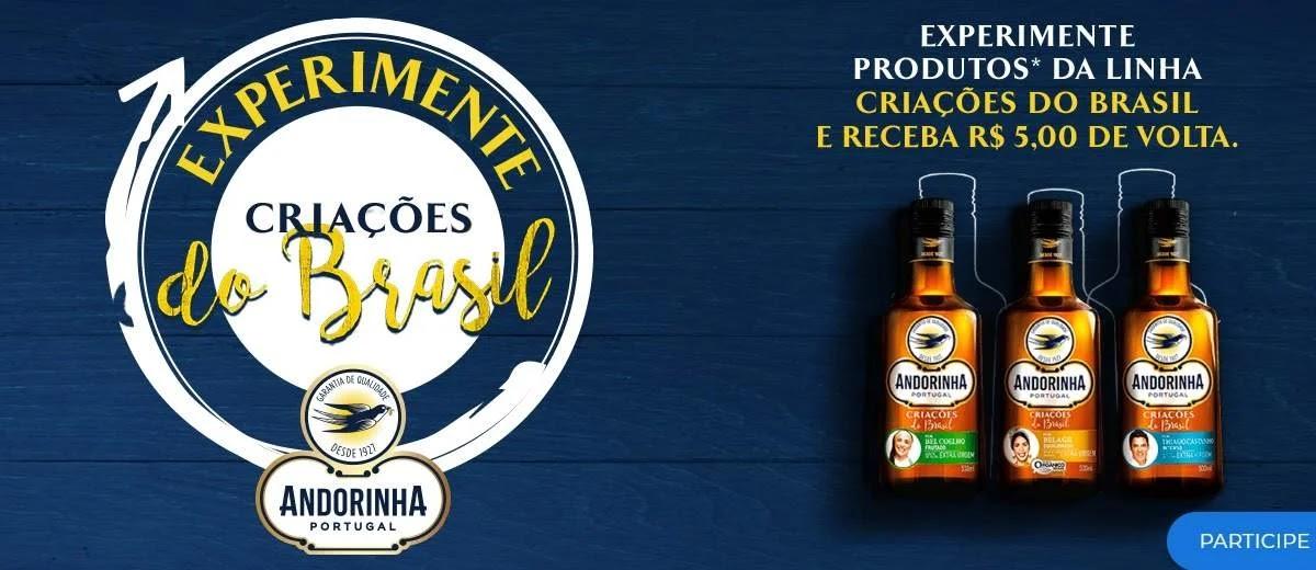 Promoção Azeite Andorinha 2020 Experimente Criações do Brasil - Dinheiro de Volta