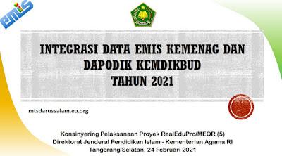 Integrasi Data EMIS Kemenag Dan Dapodik Kemdikbud Tahun 2021