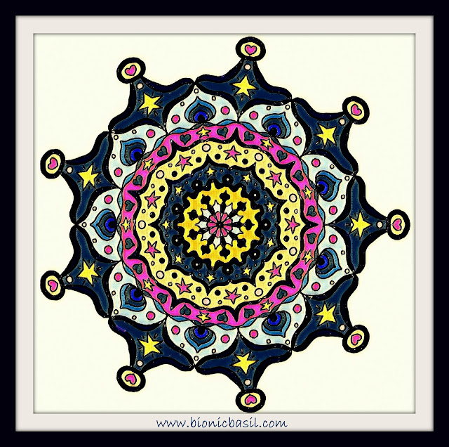 Mandalas on Monday ©BionicBasil® Colouring With Cats Mandala #103 coloured by Cathrine Garnell