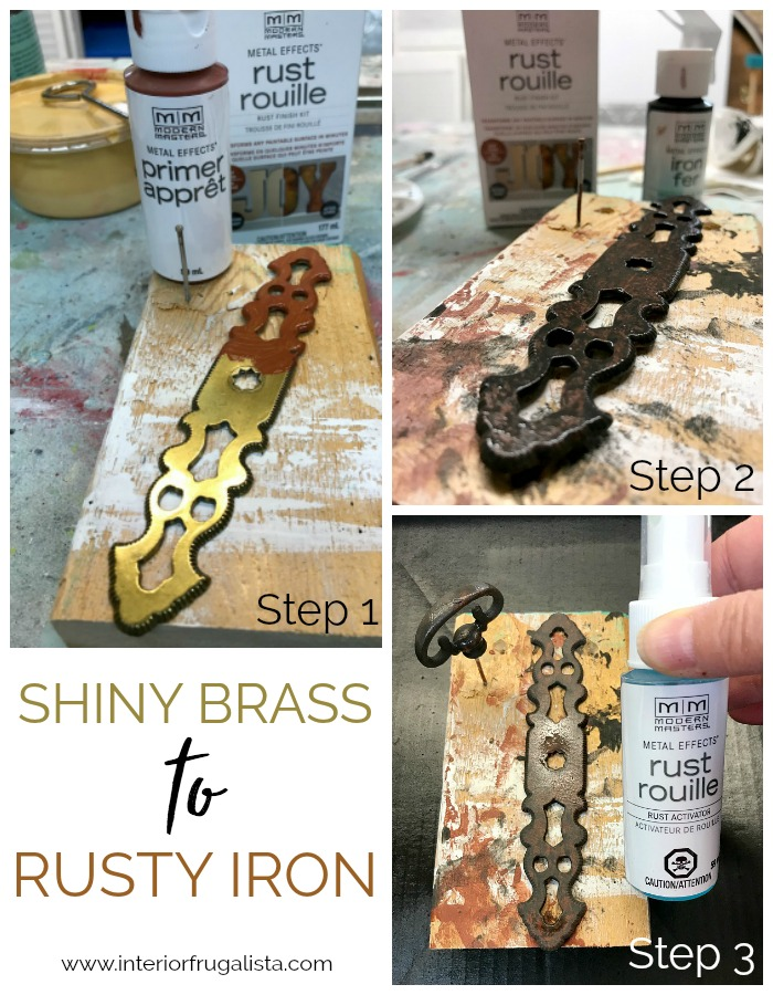 DIY Rustic Wood Sign Faux Iron Rust Hardware Patina