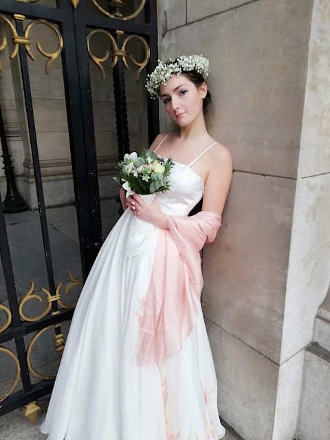 Robe de mariée Hellebores, mousseline, nude, peinte à la main