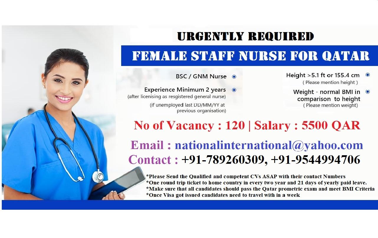 Urgently Required Female Staff Nurse For QATAR