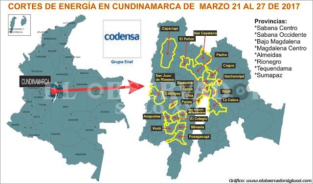 Codensa realizará trabajos de mantenimiento en Cundinamarca, entre marzo 21 al 27 de 2017