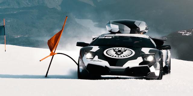 プロスキーヤーがランボルギーニ・ムルシエラゴでスキー場を疾走!