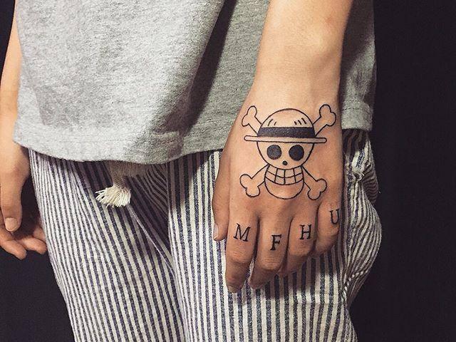 tatuagem masculina na mão e no braço masculino desenho caveira