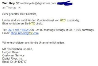 E-Mail-Screenshot - Antwort auf meinen Widerruf