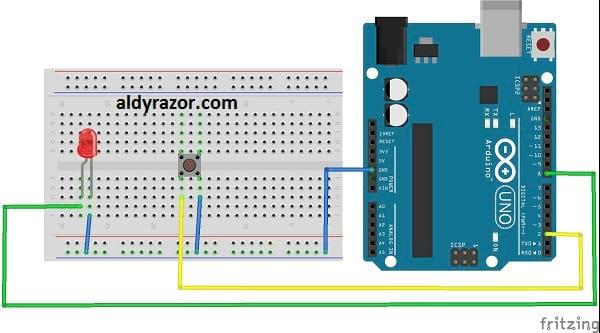 Gambar rangkaian push button Arduino