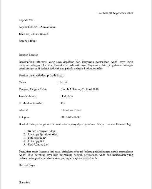 Surat Lamaran Kerja Operator Produksi Di Pt Format Word Lalu Ahmad