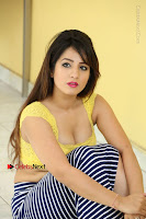 Cute Telugu Actress Shunaya Solanki High Definition Spicy Pos in Yellow Top and Skirt  0416.JPG