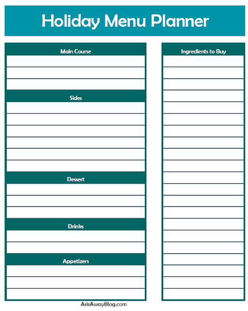 Free printable Holiday meal planner