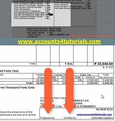 gst invoice design in tally