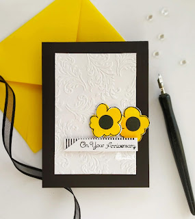 Uniko Ltd, floral card, Anniversary card, dry embossing, Quillish, Marimekko flowers, Uniko style stamp, Uniko pinstripe stamp,Time out challenges, clean and simple card, yellow and black card