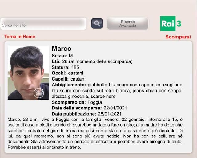"""""""Chi l'ha Visto"""": Domani sera in onda su Rai 3, la scomparsa di Marco Ferrazzano"""