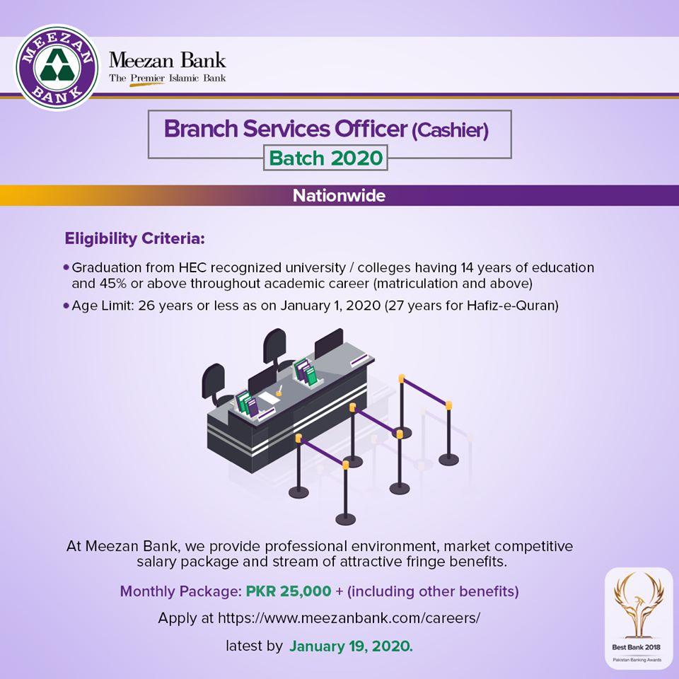 Meezan Bank Pakistan Limited Jobs 2019 for Branch Services Officer (Cashier) Batch 2020