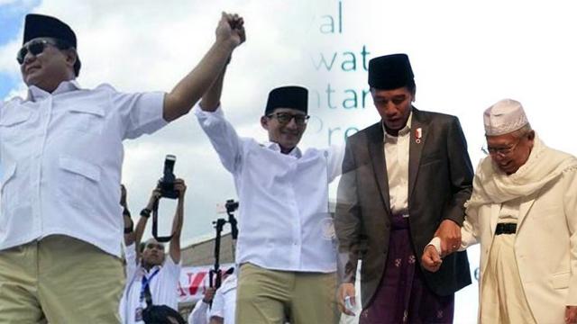 Jokowi-Ma'ruf Jalan dari Gedung Joang, Prabowo-Sandi Berangkat dari Masjid Istiqlal