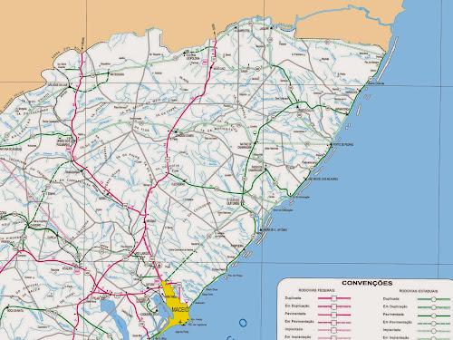 Mapa rodoviário do Litoral Norte de Alagoas