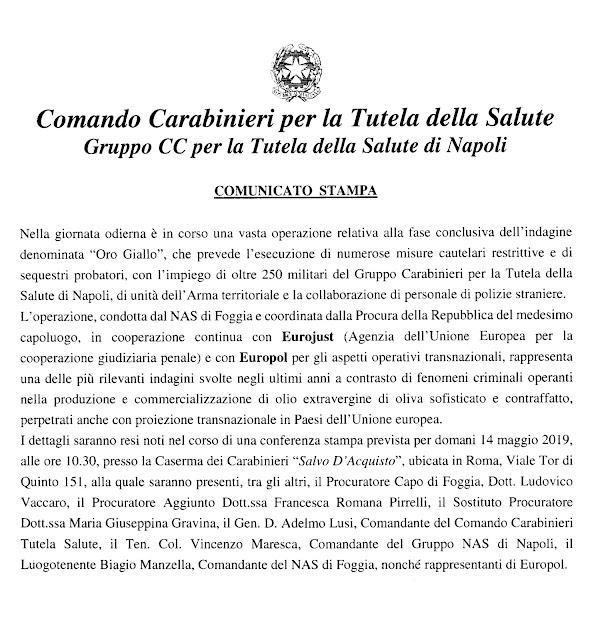 """Napoli - Foggia, indagine """"Oro Giallo"""", i Carabinieri per la Tutela della Salute con i NAS procedono a vari arresti. Tutti i nomi."""