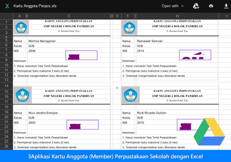 Aplikasi Kartu Anggota (Member) Perpustakaan Sekolah dengan Excel
