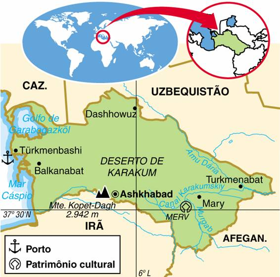 Turcomenistão, Aspectos Geográficos e Socioeconômicos do Turcomenistão