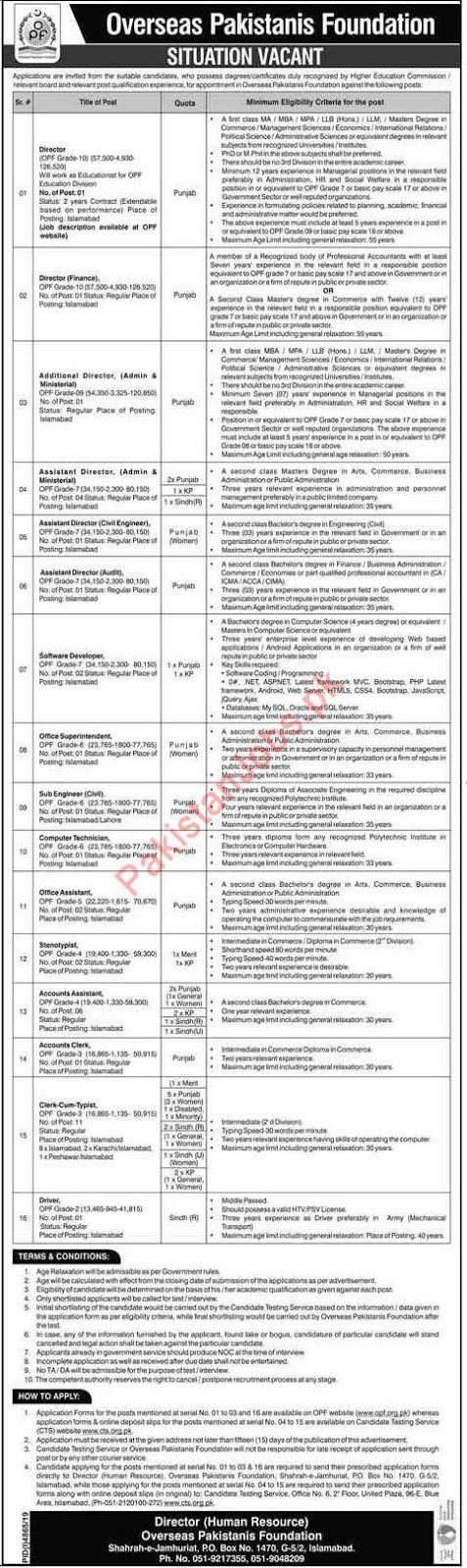 Jobs in Overseas Pakistani Foundation 2020 Latest Advertisement