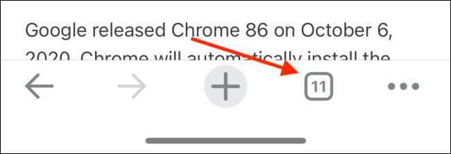 اضغط على زر علامات التبويب في Chrome