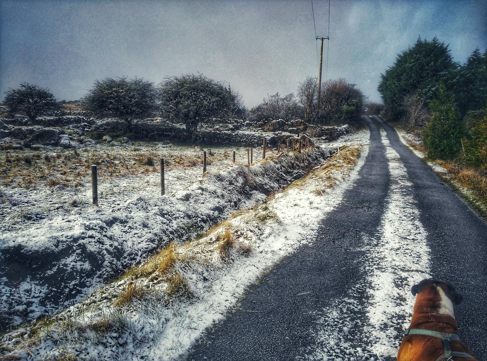 Snowy road in Connemara