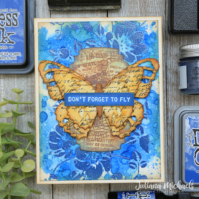 Don't Forget To Fly Card by Juliana Michaels featuring Tim Holtz Prize Ribbon Distress Ink