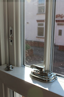 Chrome Window Furniture on uPVC Sash