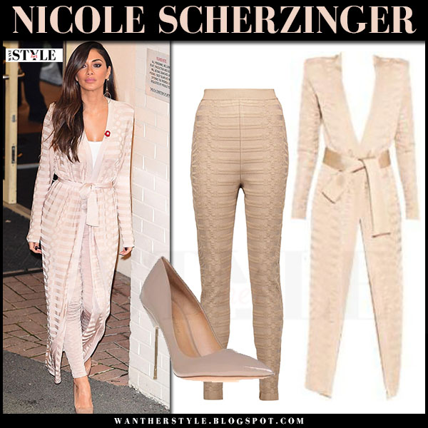 Nicole Scherzinger in beige balmain duster coat, beige balmain skinny pants and patent pumps kurt geiger london britton what she wore